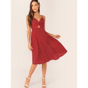 Dot Print Twist Front Cami Dress